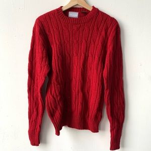 Vintage chunky cable knit sweater wool sweater M
